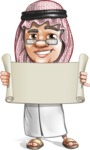 Saudi Arab Man Cartoon Vector Character AKA Wazir the Advisor - Sign 2