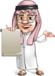 Saudi Arab Man Cartoon Vector Character AKA Wazir the Advisor - Sign 4