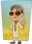 Muslim School Boy Cartoon Vector Character AKA Akeem - Shape 10