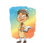 Muslim School Boy Cartoon Vector Character AKA Akeem - Shape 12