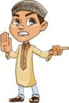 Muslim School Boy Cartoon Vector Character AKA Akeem - Direct Attention 1