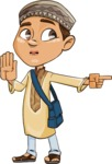 Muslim School Boy Cartoon Vector Character AKA Akeem - Direct Attention 2