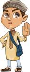 Muslim School Boy Cartoon Vector Character AKA Akeem - Stop 1