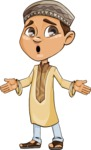 Muslim School Boy Cartoon Vector Character AKA Akeem - Stunned