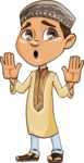 Muslim School Boy Cartoon Vector Character AKA Akeem - Shocked