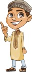 Muslim School Boy Cartoon Vector Character AKA Akeem - Attention