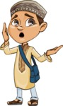 Muslim School Boy Cartoon Vector Character AKA Akeem - Confused