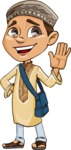 Muslim School Boy Cartoon Vector Character AKA Akeem - Hello