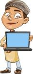 Muslim School Boy Cartoon Vector Character AKA Akeem - Laptop 1