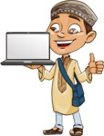 Muslim School Boy Cartoon Vector Character AKA Akeem - Laptop 2