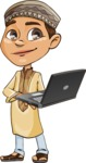 Muslim School Boy Cartoon Vector Character AKA Akeem - Laptop 3