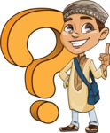 Muslim School Boy Cartoon Vector Character AKA Akeem - Question