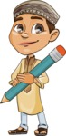 Muslim School Boy Cartoon Vector Character AKA Akeem - Pencil