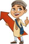 Muslim School Boy Cartoon Vector Character AKA Akeem - Arrow 1