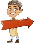 Muslim School Boy Cartoon Vector Character AKA Akeem - Arrow 2