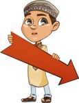 Muslim School Boy Cartoon Vector Character AKA Akeem - Arrow 3