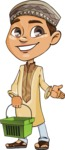 Muslim School Boy Cartoon Vector Character AKA Akeem - Basket