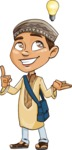 Muslim School Boy Cartoon Vector Character AKA Akeem - Idea