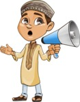 Muslim School Boy Cartoon Vector Character AKA Akeem - Laudspeaker