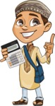 Muslim School Boy Cartoon Vector Character AKA Akeem - Calculator