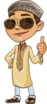 Muslim School Boy Cartoon Vector Character AKA Akeem - Sunglasses