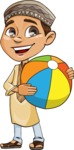 Muslim School Boy Cartoon Vector Character AKA Akeem - Beach Ball