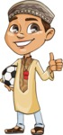 Muslim School Boy Cartoon Vector Character AKA Akeem - Soccer