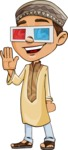 Muslim School Boy Cartoon Vector Character AKA Akeem - 3D