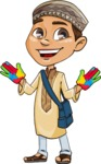 Muslim School Boy Cartoon Vector Character AKA Akeem - Color Hands