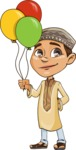 Muslim School Boy Cartoon Vector Character AKA Akeem - Baloons