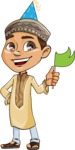 Muslim School Boy Cartoon Vector Character AKA Akeem - Party 1