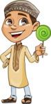 Muslim School Boy Cartoon Vector Character AKA Akeem - Candy