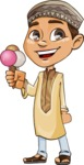 Muslim School Boy Cartoon Vector Character AKA Akeem - Icecream