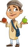 Muslim School Boy Cartoon Vector Character AKA Akeem - Apples