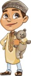 Muslim School Boy Cartoon Vector Character AKA Akeem - Tedy Bear