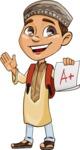 Muslim School Boy Cartoon Vector Character AKA Akeem - School 1