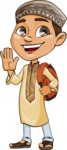 Muslim School Boy Cartoon Vector Character AKA Akeem - School 2