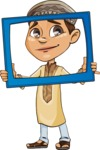 Muslim School Boy Cartoon Vector Character AKA Akeem - Frame