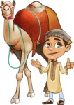 Muslim School Boy Cartoon Vector Character AKA Akeem - Camel