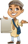 Muslim School Boy Cartoon Vector Character AKA Akeem - Sign 4