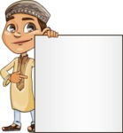 Muslim School Boy Cartoon Vector Character AKA Akeem - Presentation 2