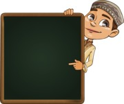 Muslim School Boy Cartoon Vector Character AKA Akeem - Presentation 4