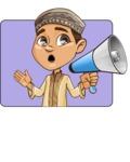 Muslim School Boy Cartoon Vector Character AKA Akeem - Shape 1