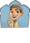 Muslim School Boy Cartoon Vector Character AKA Akeem - Shape 2