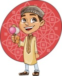 Muslim School Boy Cartoon Vector Character AKA Akeem - Shape 8