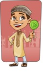 Muslim School Boy Cartoon Vector Character AKA Akeem - Shape 9