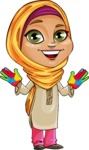 Nasira the Caring Arabic Girl - Color Hands