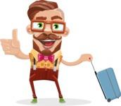 Vintage Fashion Style Man Cartoon Vector Character AKA Jacob - Travel 1