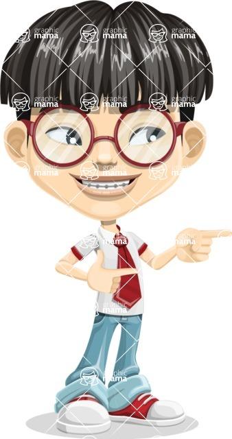 Asian School Boy Cartoon Vector Character AKA Jeng Li - Point 2