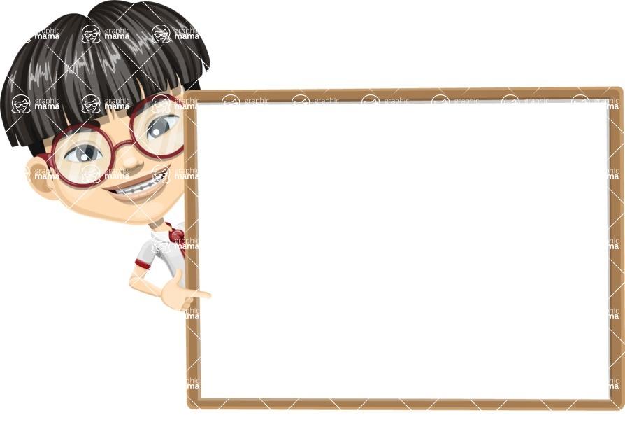 Asian School Boy Cartoon Vector Character AKA Jeng Li - Presentation 5